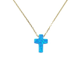 Cross Opal Pendant Necklace Gold Plated 925 Sterling Silver Chain  Necklace with cross. Cross pendant blue Cross pendant Necklace with cross