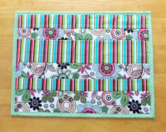 Sale - Handmade  Strip Quilted Modern Floral and Stripes Print Placemat, Unique and Fun, Table Topper