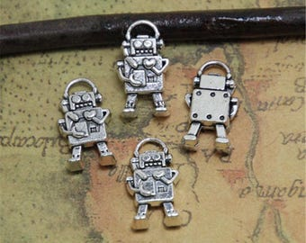 20pcs Robot Charms Bronze Tone Mini Robot charm pendant 3D 17x10mm ASD0347