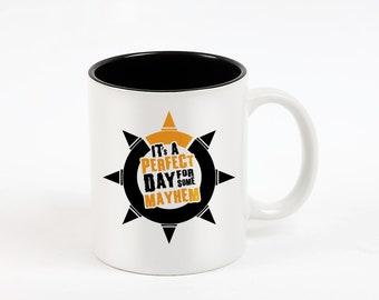 Overwatch, Mayhem Mug, Junkrat Coffee, Junk Rat Tea, White and Black Mug, Computer Game, Cup, Geek Present