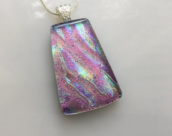 Dichroic Glass Pendant, Fused Glass Jewelry, Pink Pastel Rainbow Dichroic Necklace
