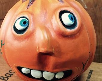 Halloween Folk Art Pumpkin, Handmade