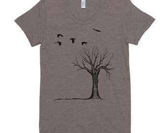 The Original Bare Tree with Birds on fitted Women's Crew Neck T-shirt