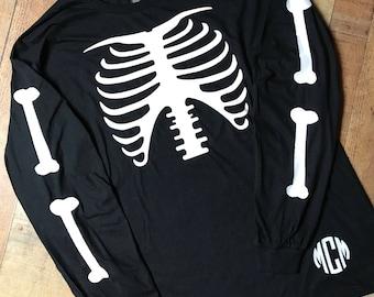 halloween shirt glow in the dark skeleton shirt monogram long sleeve holiday shirt halloween