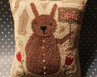 Primitive Needle Punch Pillow Spring Bunny and Pink Tulips