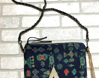 Printed Jacquard Crossbody bag with Leather accent
