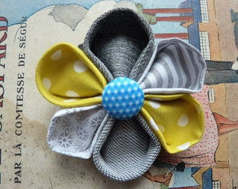 Fabric flower brooch kanzashi with a blue round button - Gift