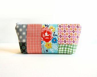 Patchwork Zipper Pouch, Makeup Bag, Toiletry Storage, Cosmetic Case, Denyse Schmidt Fabrics