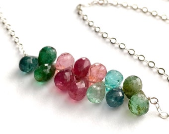 Colorful Watermelon Tourmaline Necklace. Watermelon Tourmaline Sterling Silver Chain Necklace. Red Green Pink Tourmaline Statement Necklace