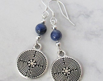 Sodalite Labyrinth Metaphysical Earrings - Sodalite, Sterling Silver Beads, Sterling Silver Earwires - Metaphysical, Spiritual, Meditation