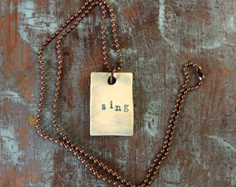 """Clay diffuser necklace """"sing"""""""