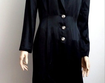 Satin coat, S, M, long satin jacket, black satin coat, black coat, black satin jacket, formal black coat, opera coat