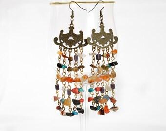 Gemstone chandelier earrings, long gemstone earrings, gypsy stone earrings, bohemian earrings, long gypsy earrings, long boho stone earrings