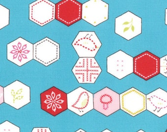 SALE - Sew Stitchy Collection - Novelty Hexagons - Aqua by Aneela Hoey -  Moda