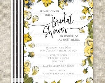 ROSE BRIDAL SHOWER Invitation Yellow Rose Victorian Rustic Country Custom Digital diy Printable Cards