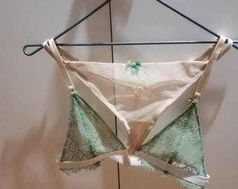 Green and champagne bra and thong ensemble