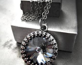 Swarovski Crystal Midnight Black Rivoli Necklace, Vintage Style Wedding Bridal Bridesmaid Jewelry, Antiqued Silver Crown Bezel Pendant