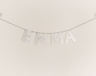 Custom, personalized word garland with silver glitter letters.  Custom banner.  Word banner.  Name banner.  Name garland.  Custom garland.