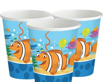 Ocean Buddies Cups - 255ml Paper Party Cups-Girls birthday party-boy birthday party -under the sea