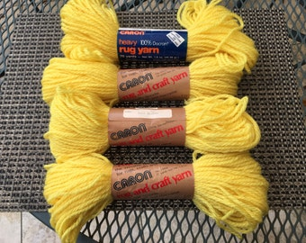 CARON Rug and Craft Yarn, 4 skeins of yellow , Color- 0007