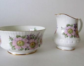 Royal Tara, Irish Blossom Mini Sugar and Creamer, Pink and Lavender Flowers, Fluted, Fine Bone China, Handmade in Galway, Ireland