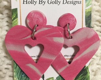 Pink Polymer Clay Heart Dangles