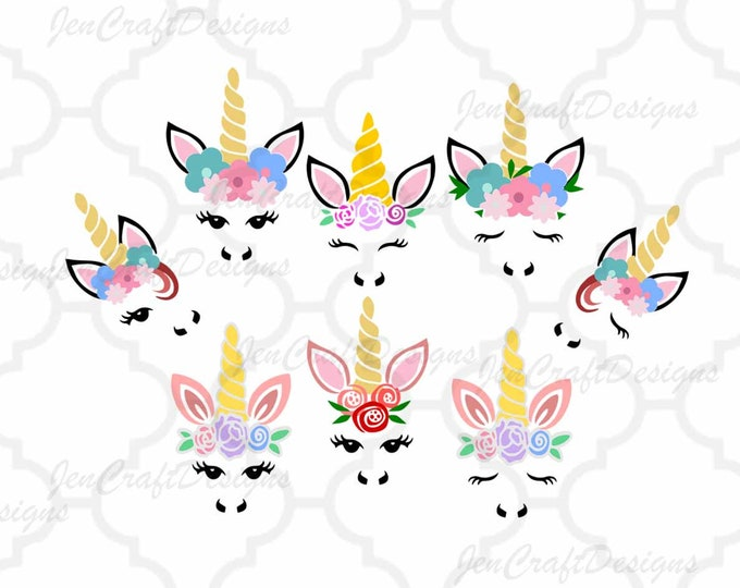 Featured listing image: Unicorn svg, Unicorn face svg, Gold Horn unicorn, Floral Unicorn eyelashes, SVG, DXF, unicorn face svg, Eps, Dxf, Png Cricut, Silhouette