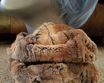 Rabbit Faux Fur Minky Infinity Scarf