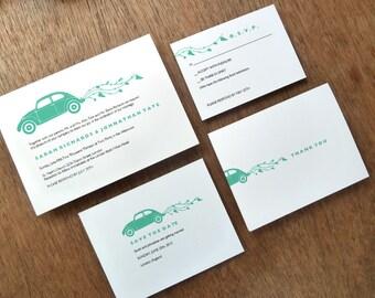 Printable Wedding Invitation Set - VW Beetle - Just Married VW Bug - Teal Wedding Invites - Instant Download Wedding Invite PDF Templates