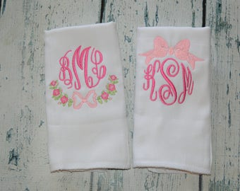 Monogrammed Baby Girl Burp Cloth Set of 2, Floral and Bow Personalized Burp Cloths