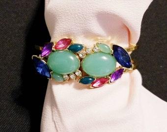 Jeweled Hinged Cuff Gold tone Bracelet
