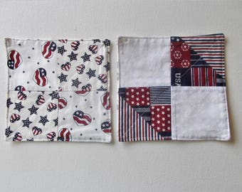 "Mug Rug, Drink Coasters, Americana Mug Rug, Handmade Mini Quilt, Fabric Coaster, Snack Mat, Mug Rug, Drink Mat, 61/4"" x 61/4"", #118"