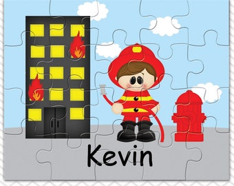 Fireman Personalized Puzzle, Personalized Fireman Puzzle, Personalized Kids Puzzle