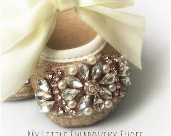 Ballerina Mary Jane Shoes baby Girls Crystal Rhinestone Diamond Strass Gold Christening, Party Baptism, 0-6 months Sparkle, glitters, Oro