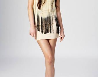 Strapless Gradient Cream Beige And Black Fringe Dress
