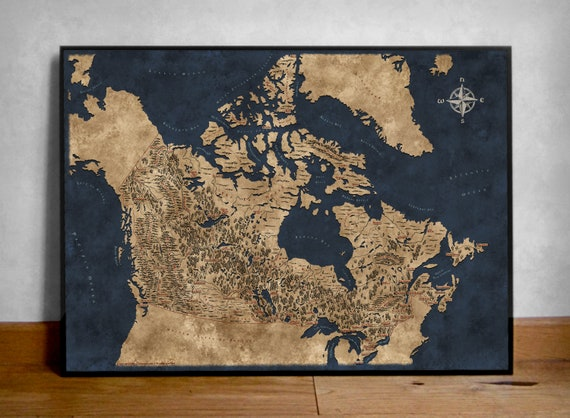 Fantasy style illustrated map of canada canada map art wall fantasy style illustrated map of canada canada map art wall map canada canada map poster map print canada canadian map fantasy gift gumiabroncs Gallery