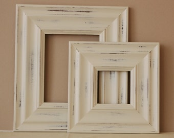 Sizes 8x10 to 12x12 Wood Picture Frame / Vintage White or Blue / Madera Style