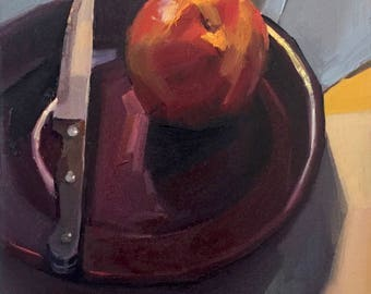 "Framed Art fruit painting still life ""Knife on the Plate"" oil on canvas by artist Sarah Sedwick 9x12"""