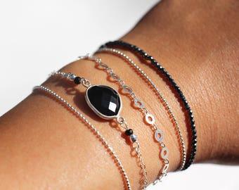 """""""Set of 3 Bracelets"""" charm, silver strings, hematite stone black onyx gemstones"""