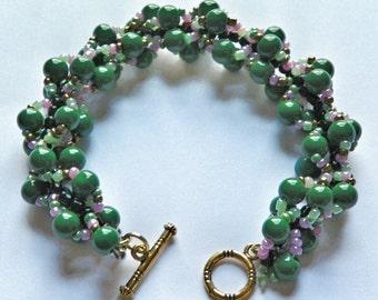 Green Spiral Rope Bracelet - Green Beadwork Bracelet - Green and Pink Seed Bead Patterned Bracelet -  Shamrock Green Bracelet