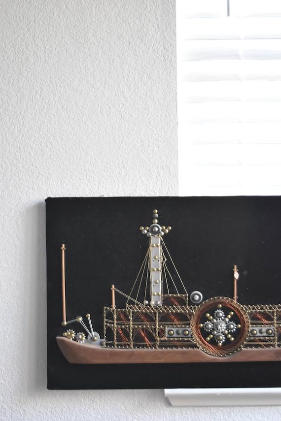signed original boat ship metal string art sculpture / folk art / copper
