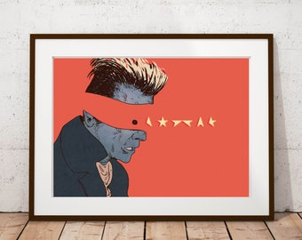 The Lost Star - David Bowie Inspired Art Print - Illustrated Poster Print, Music Prints, London Prints, Gifts for Bowie fans