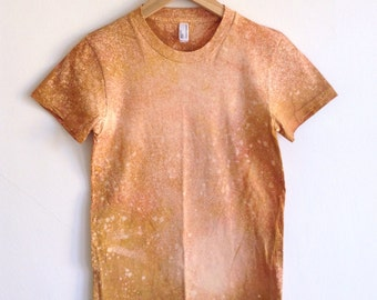 Hand Dyed Tangerine Speckled Tshirt - Small