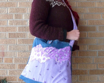 Upcycled Tote Bag Purple Mountains Majesty - Lavender Spring