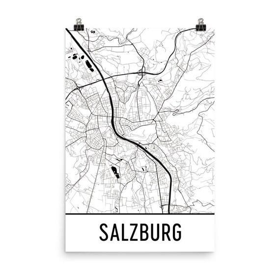 Salzburg Map Salzburg Art Salzburg Print Salzburg Austria
