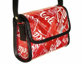 Small crossbody Coke can, FREE SHIPPING, Cross body bag, Upcycled bag, cross body purse, Recycled Hipster bag shoulder bag sling red handbag