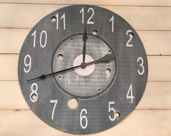 Large Grey and White Farmhouse Wall Clock