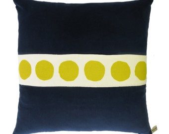 Navy Velvet Pillow with Hand Printed Yellow Circles Trim, down insert included, exposed hot pink zipper, leather pull