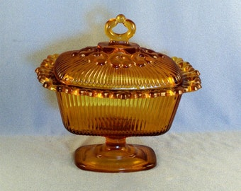 Vintage Indiana Glass Co Amber Covered Candy Dish // Footed // Pedestal // Lace Ribbed // Lidded Dish // Mid Century // Cookie Jar