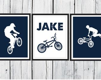 Bike Rider Print Set - BMX - 3 Piece Set - Choose Size and Colors